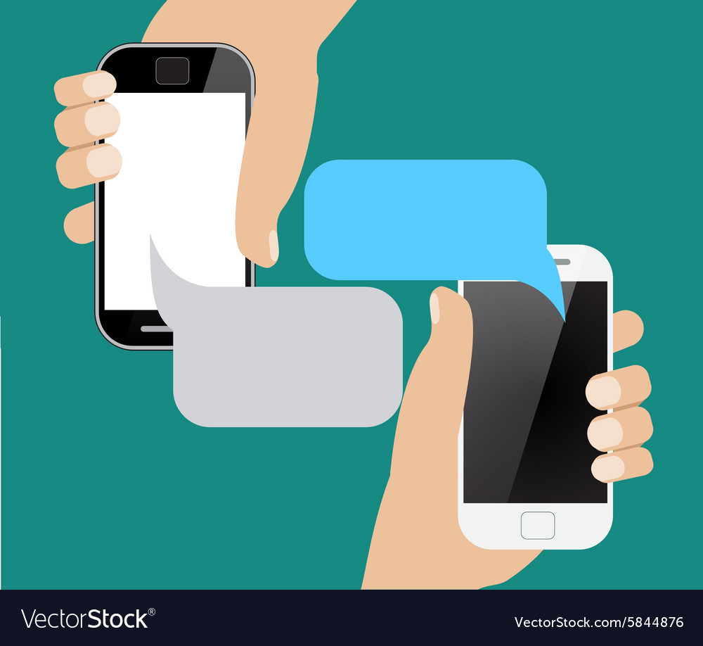 Hands holing smartphone with blank speech bubble vector