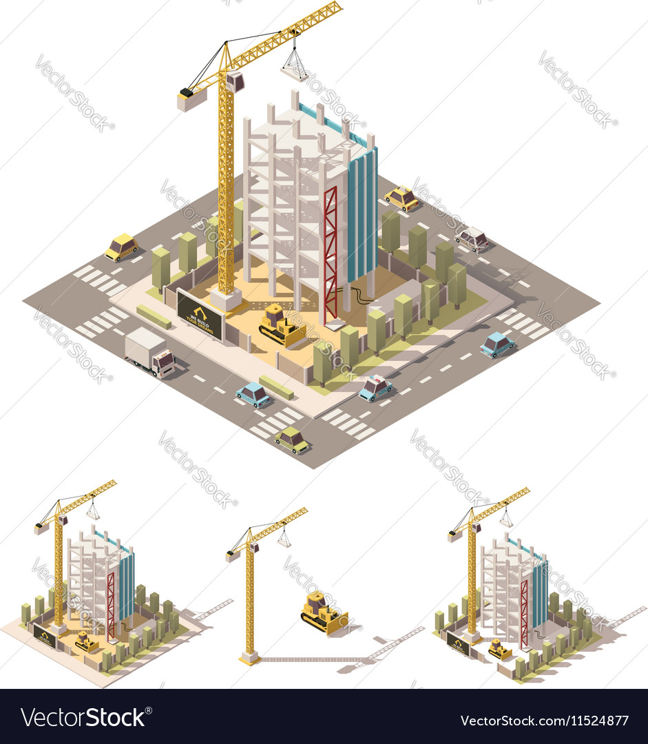 Isometric low poly construction site vector