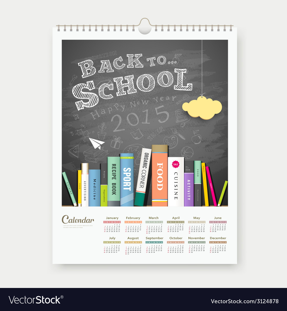 Calendar 2015 back to school with books concept vector