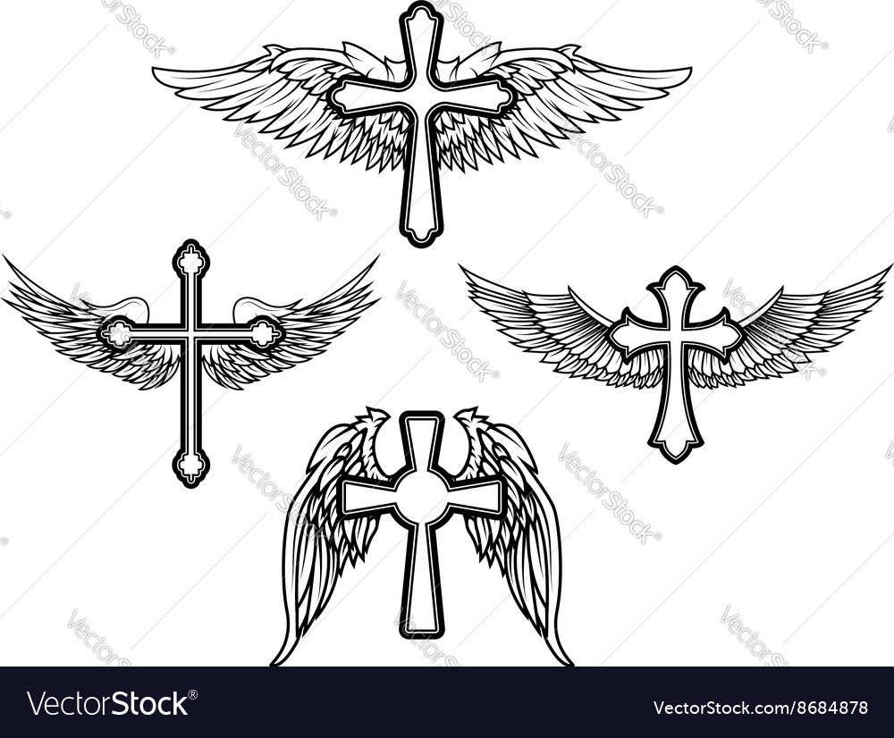 Set of the cross with wings vector