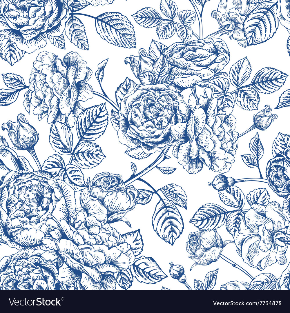 Vintage seamless pattern with garden roses vector