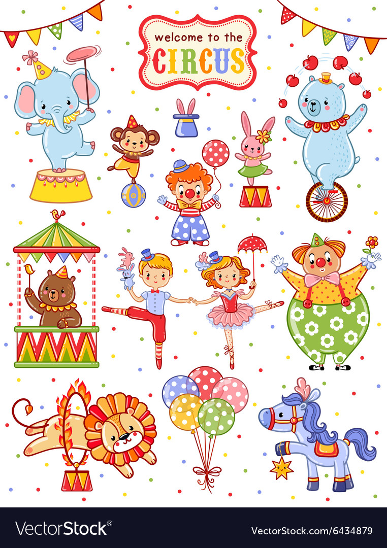 Cute collection of circus vector