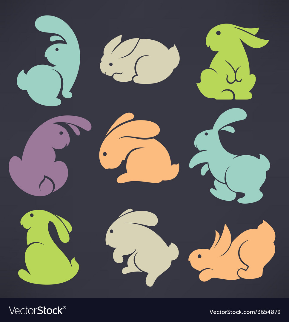 Large rabbit collection vector