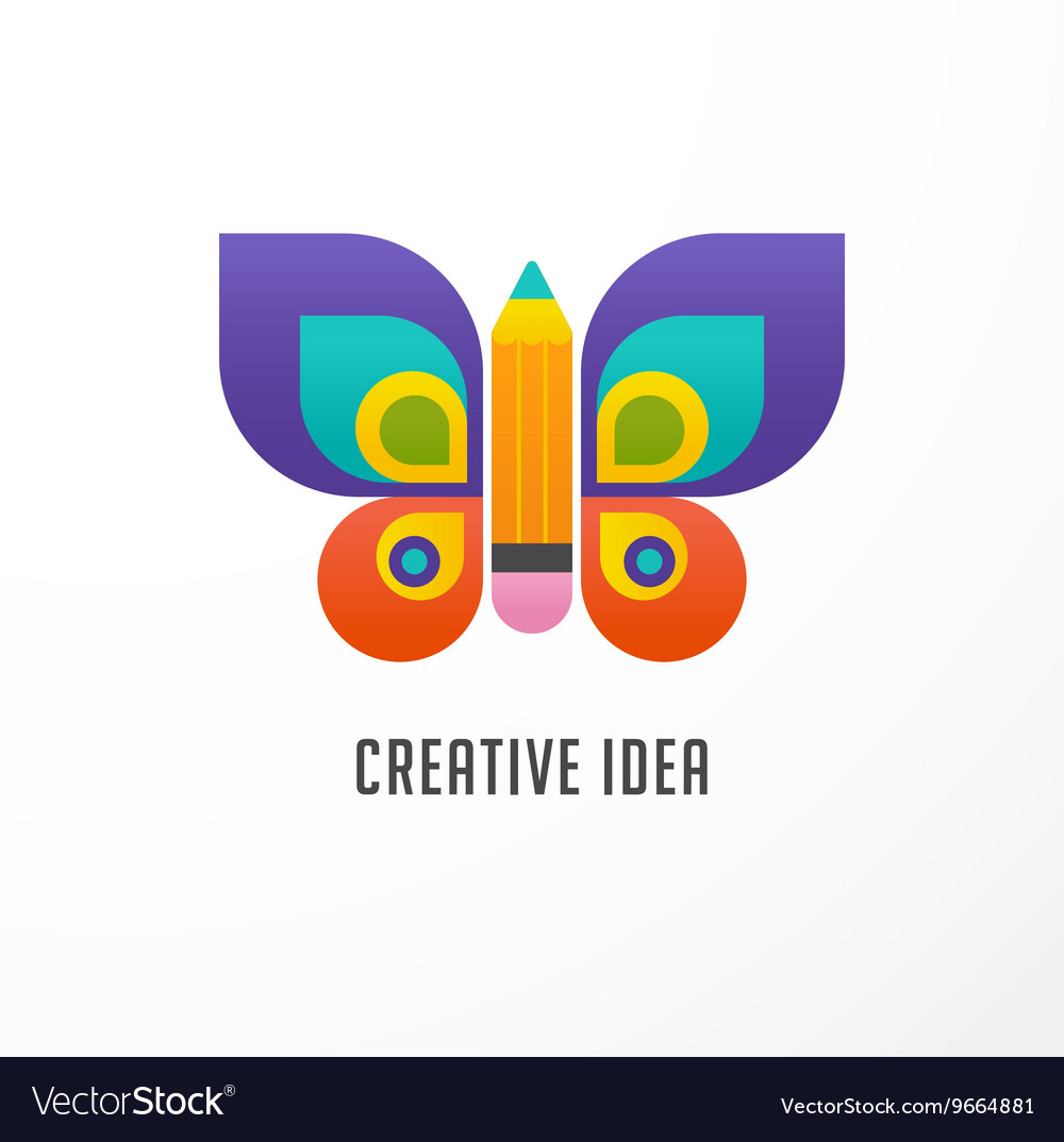 Education learning icon  butterfly and pencil vector