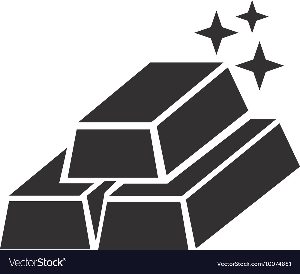 Gold ingots silhouette icon vector