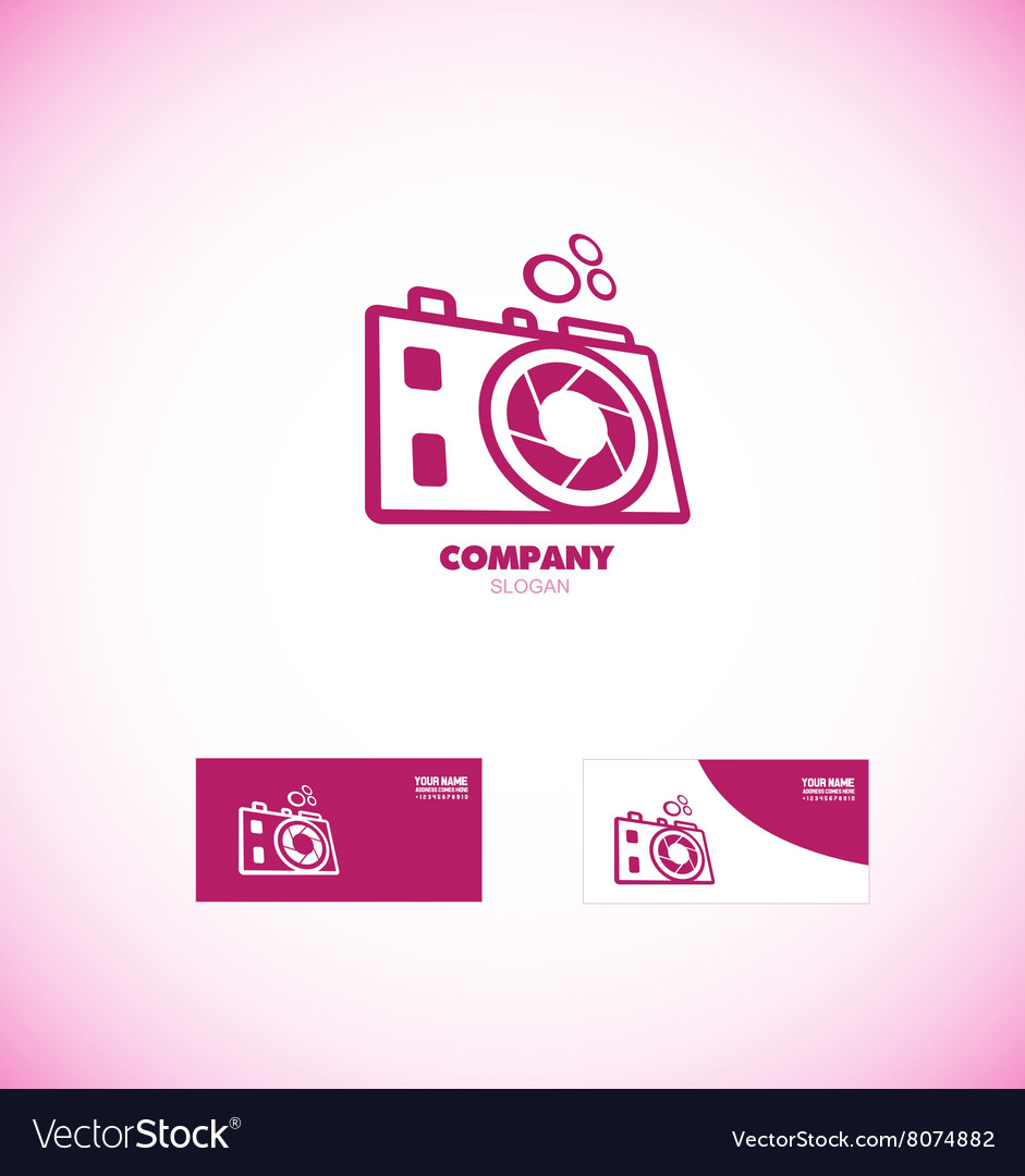 Photography camera aperture logo vector