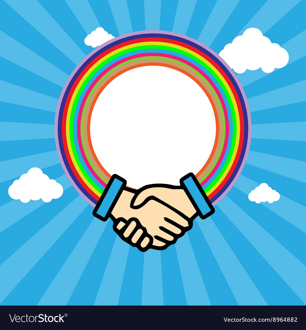 Shaking hands in outline with rainbow circle vector