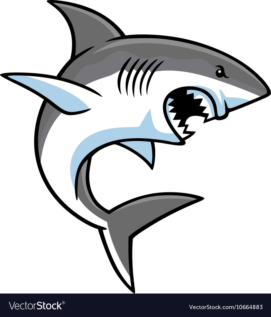 Angry shark cartoon vector