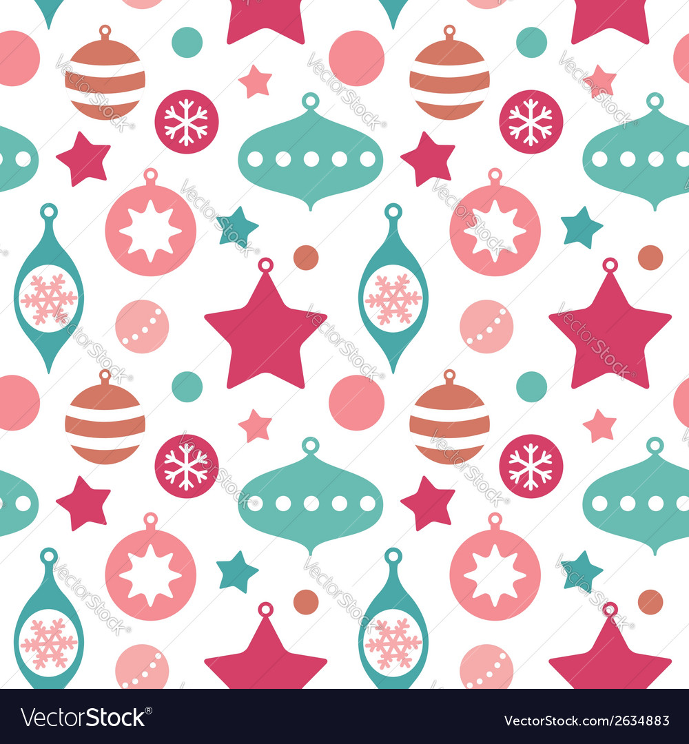 Christmas toys balls and baubles seamless pattern vector
