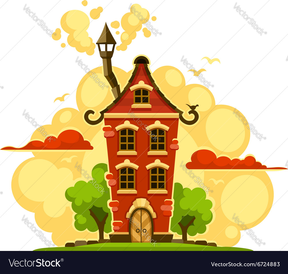 Fairytale house over sunset vector