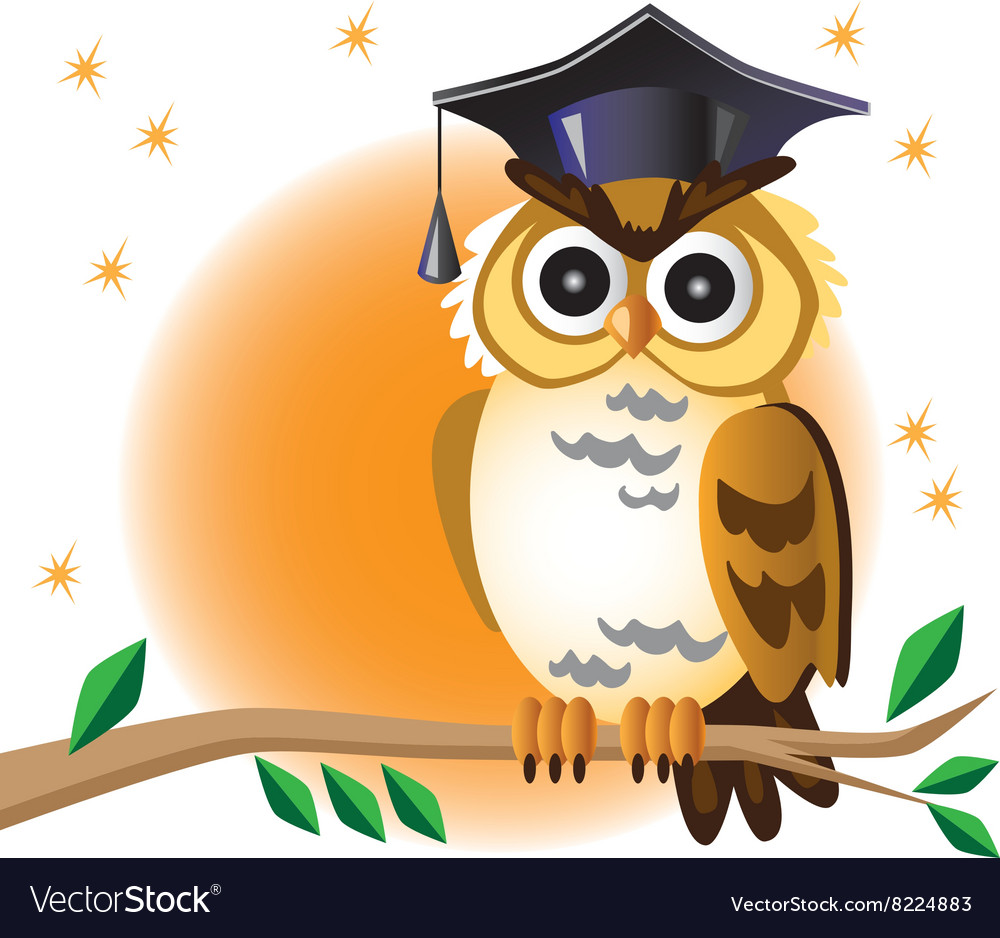 Scientist owl on branch and moon vector