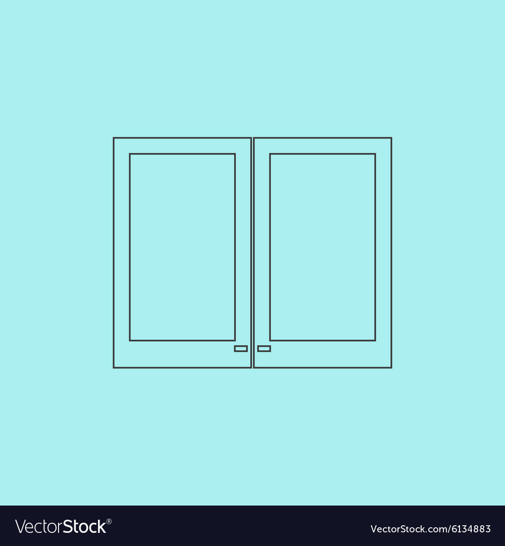 Two plastic window icon sign and button vector