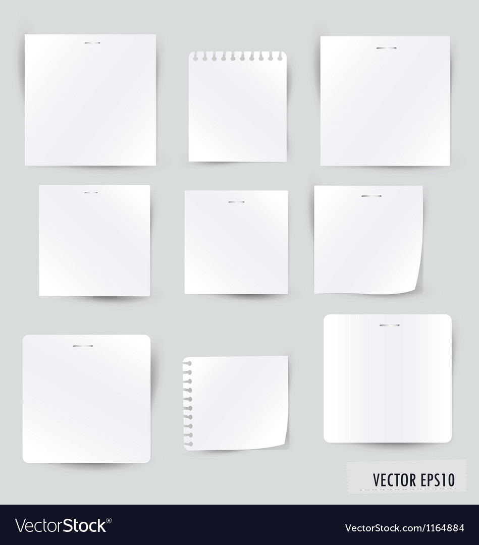 Collection of various white note papers vector