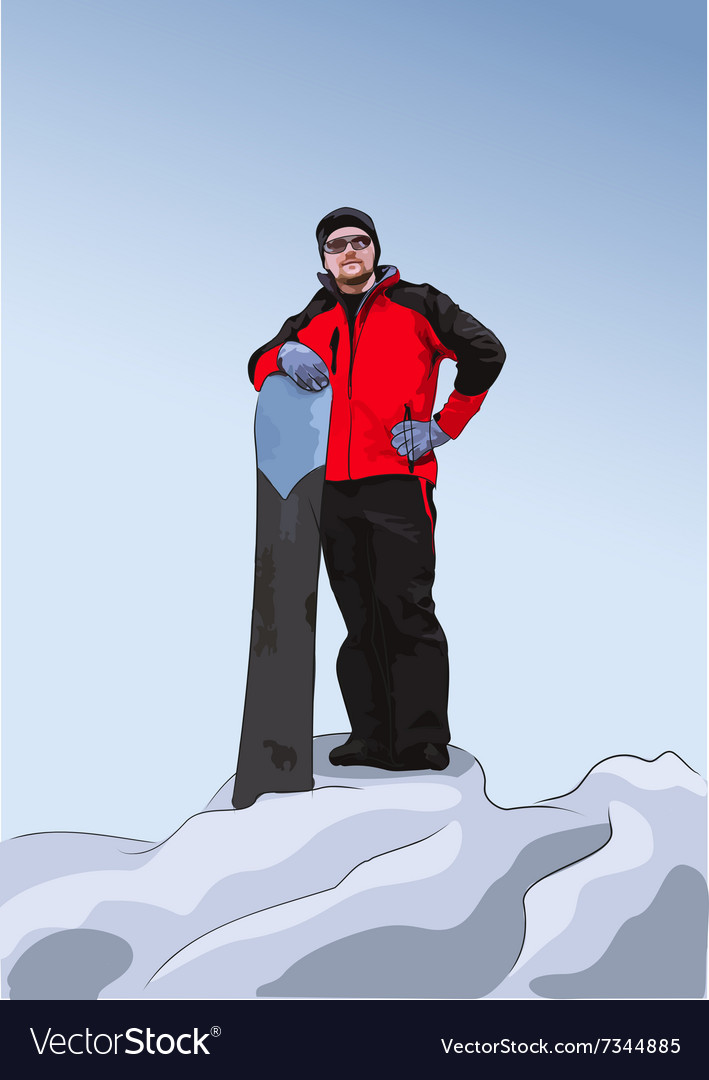 Snowboarder stands on top of a hill vector