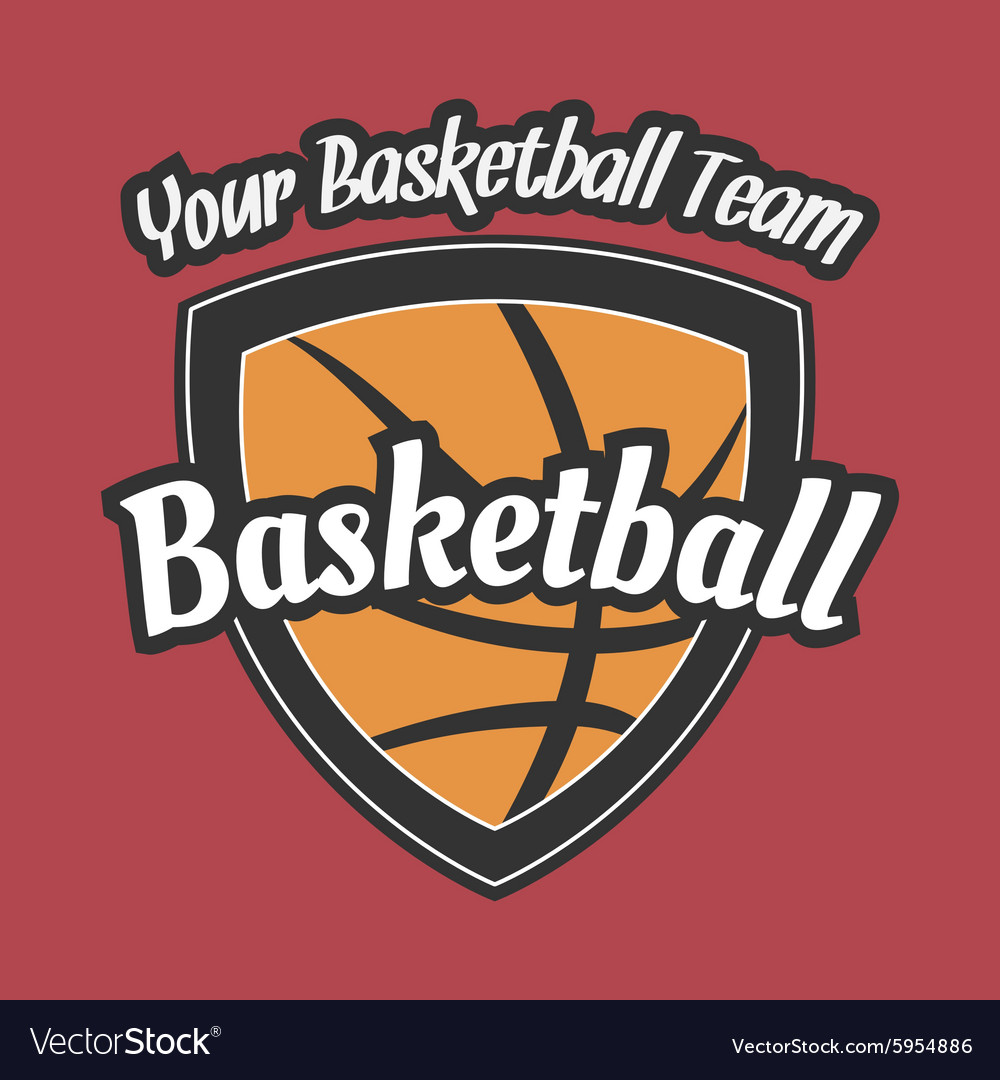 Basketball team label with ball vector