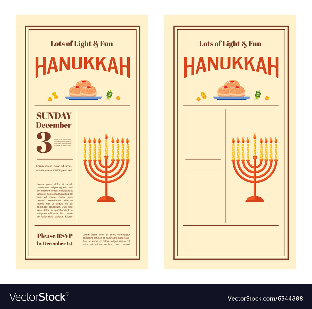 Happy hanukkah greeting card party invitation vector