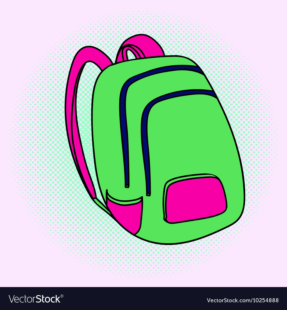 School bag pop art vector