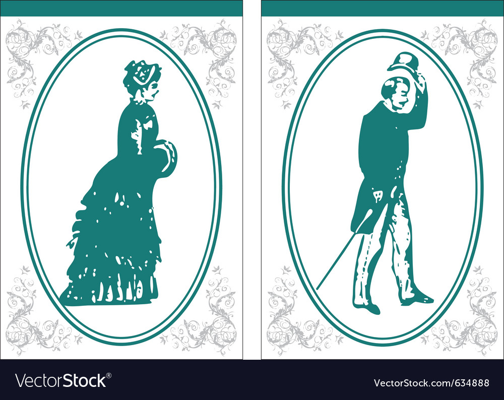 Vintage bathroom signs vector
