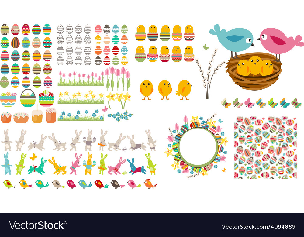 Big easter collection with eggsbirds and rabbits vector