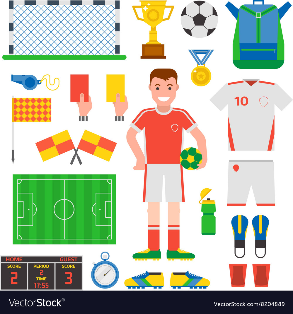 Flat design football soccer icons sport vector
