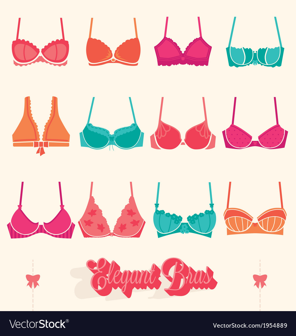 Retro bra icons and symbols vector