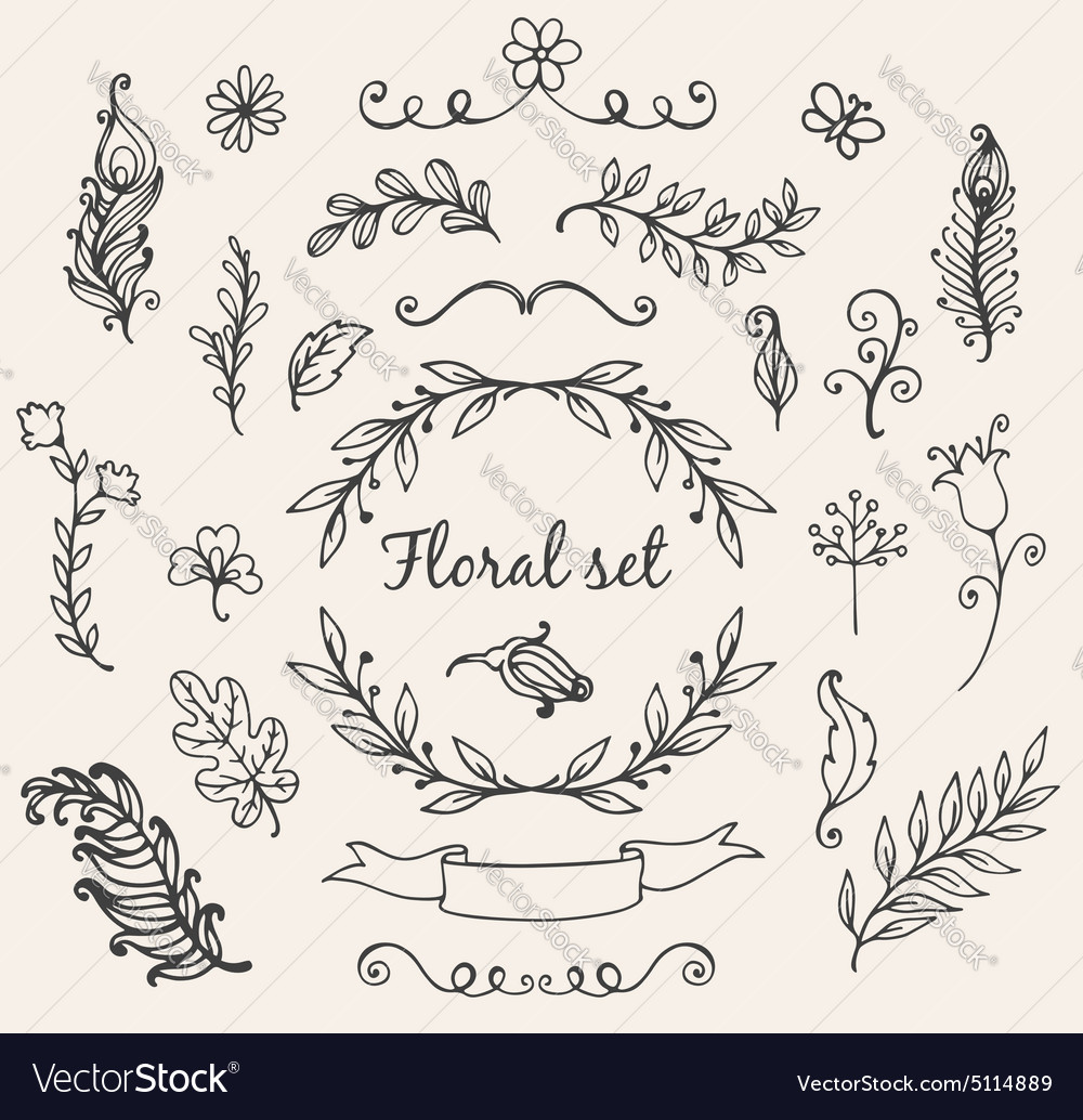 Set of hand drawn decorative floral elements vector