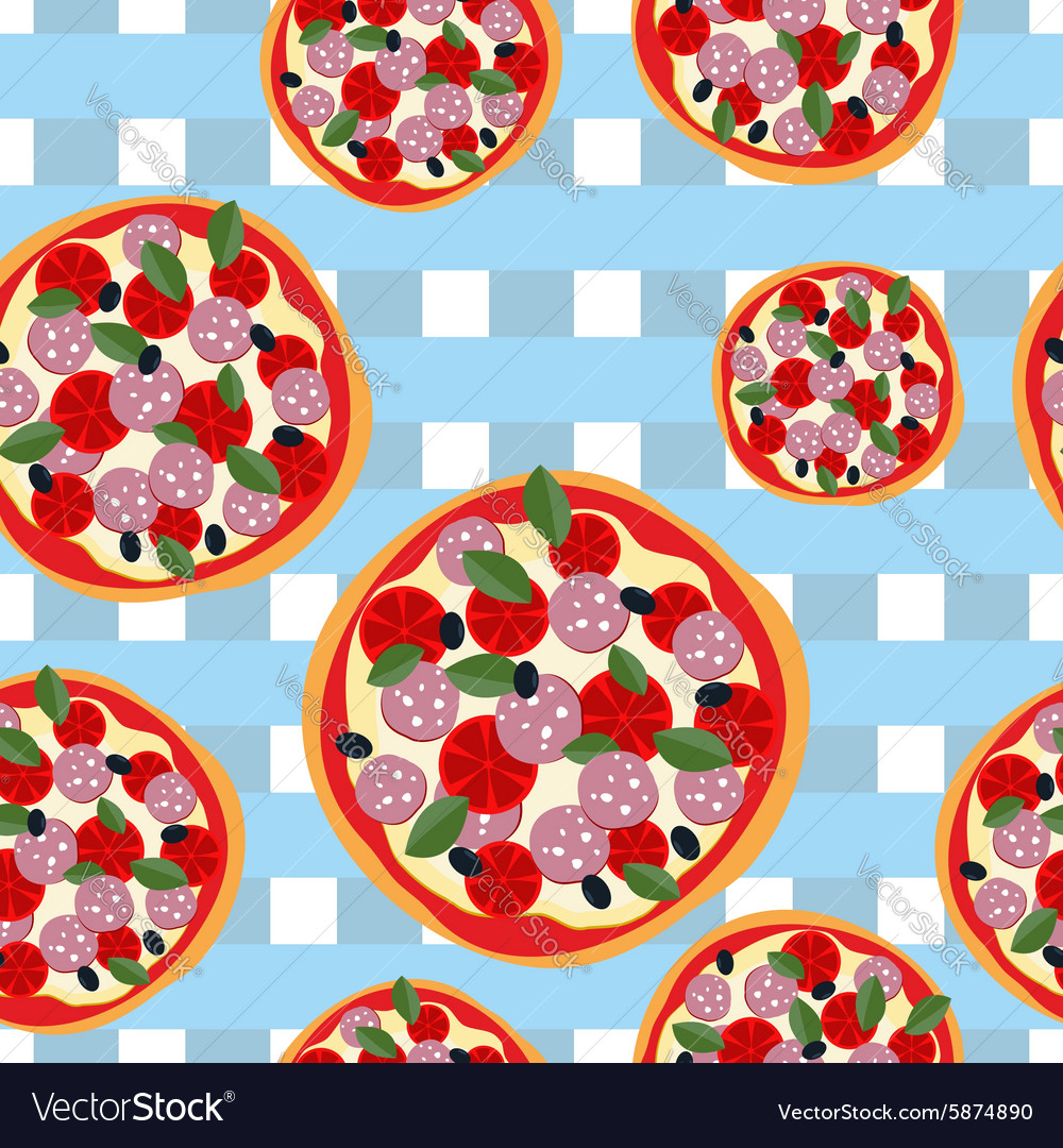 Pizza seamless pattern on a blue tablecloth food vector