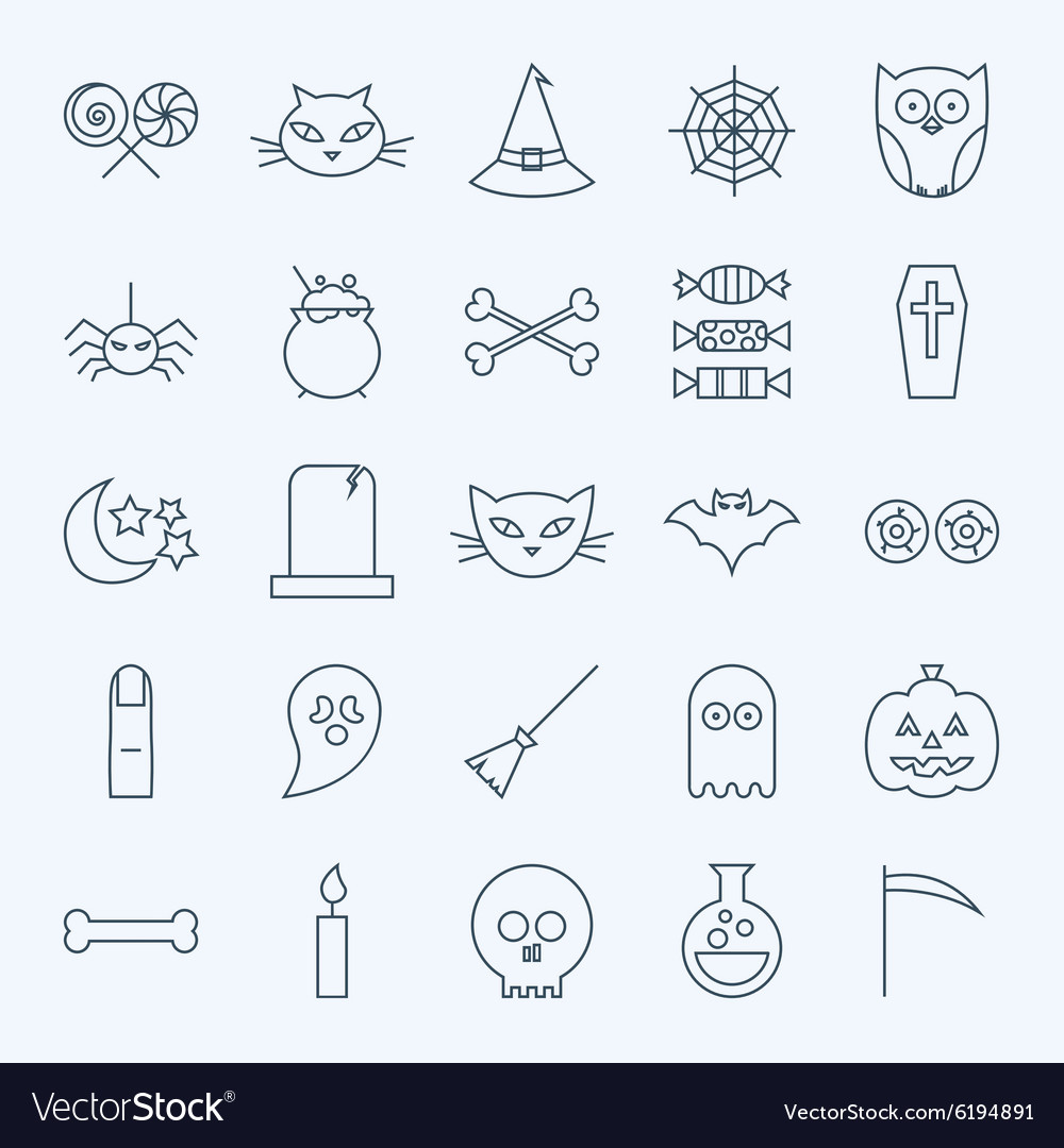 Line holiday halloween icons set vector