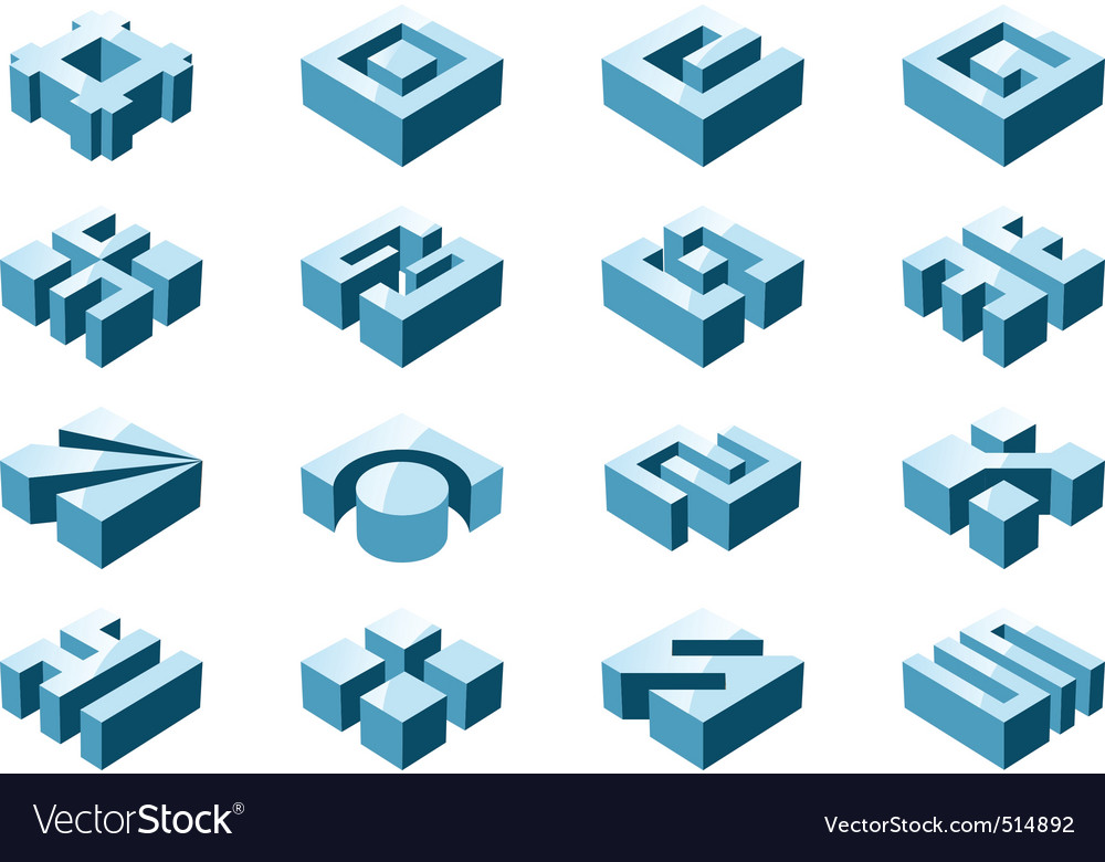 3d design elements vector