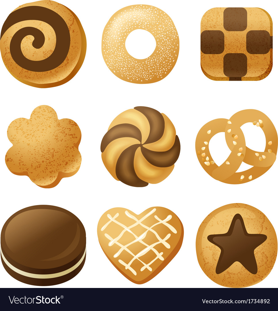 Cookie icons vector