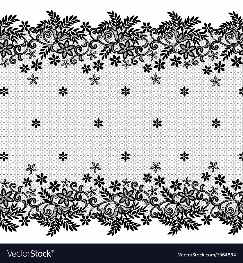 Floral lace borders vector