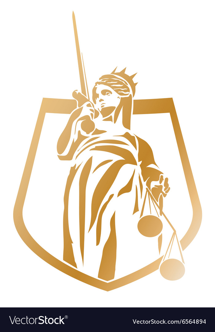 Lady justice coat of arms vector