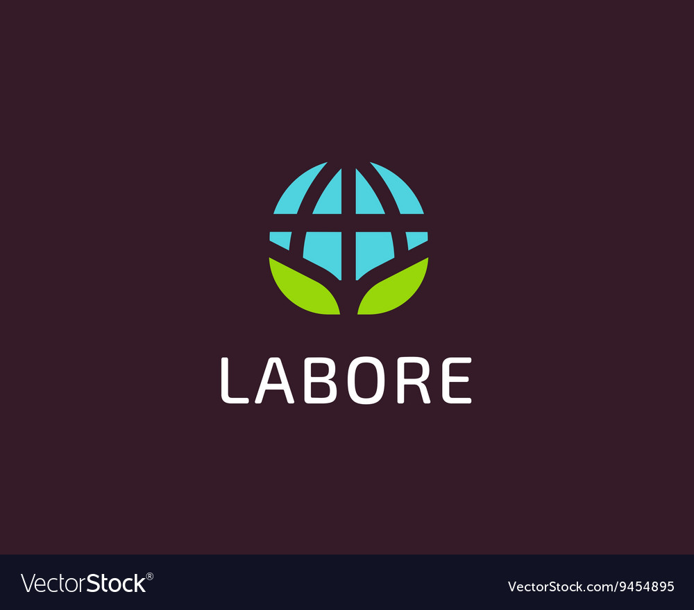 Abstract globe green leaf logo design vector