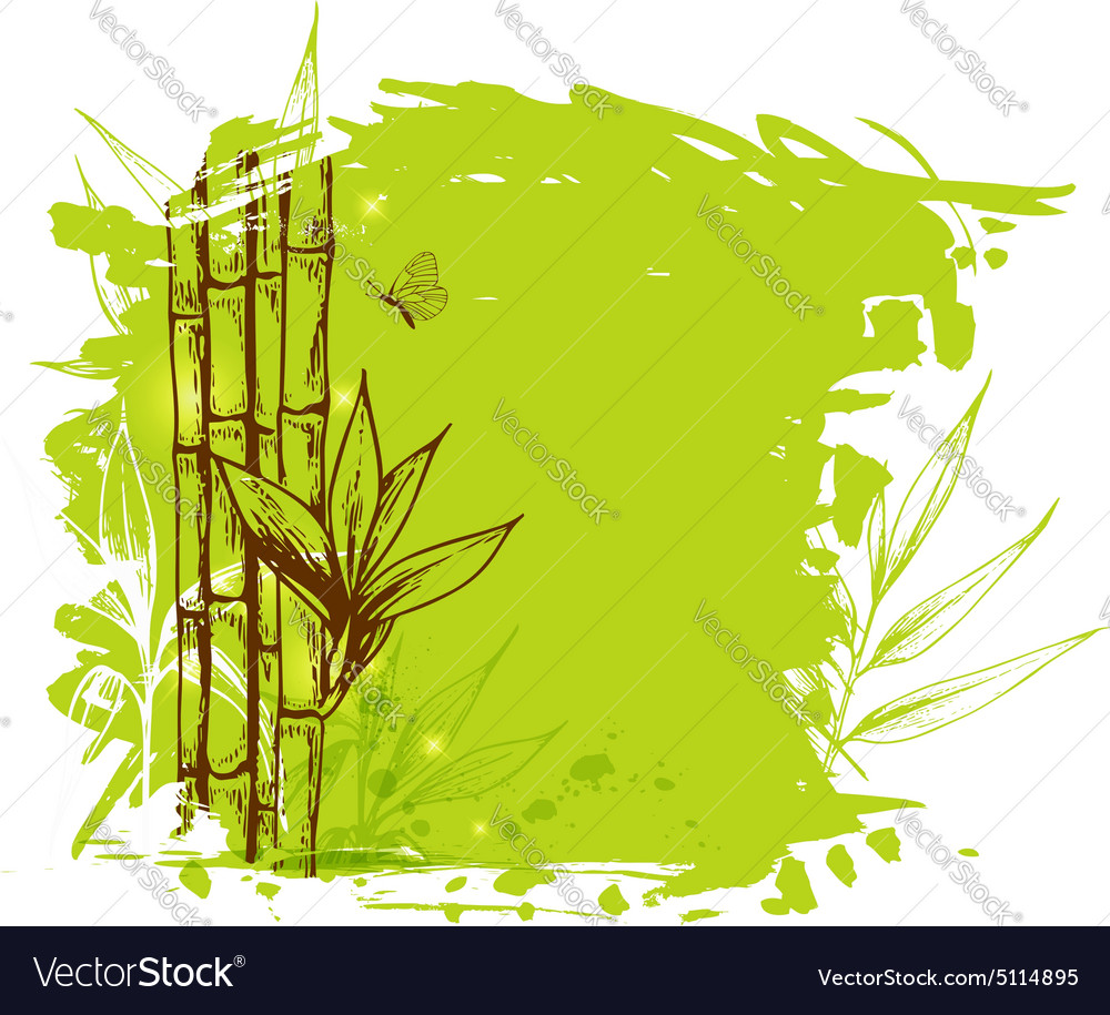 Green background with bamboo vector