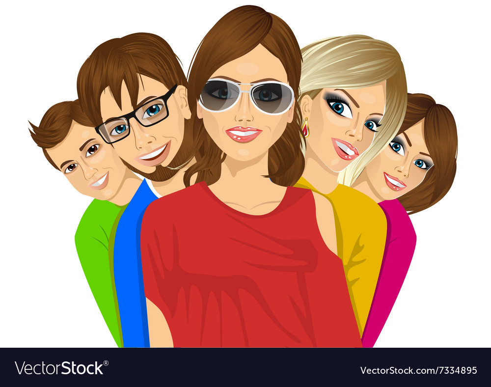 Group of happy young students vector