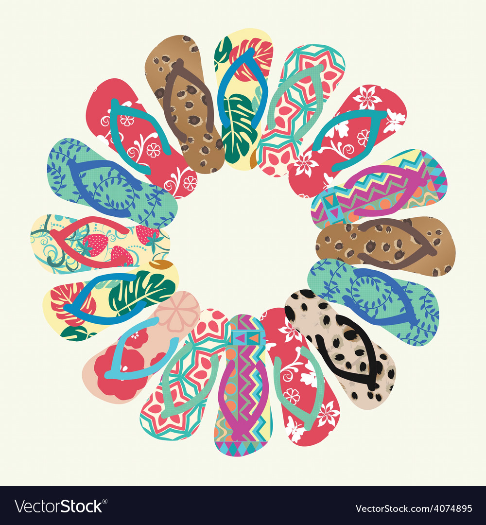 Lip flops round pattern vector