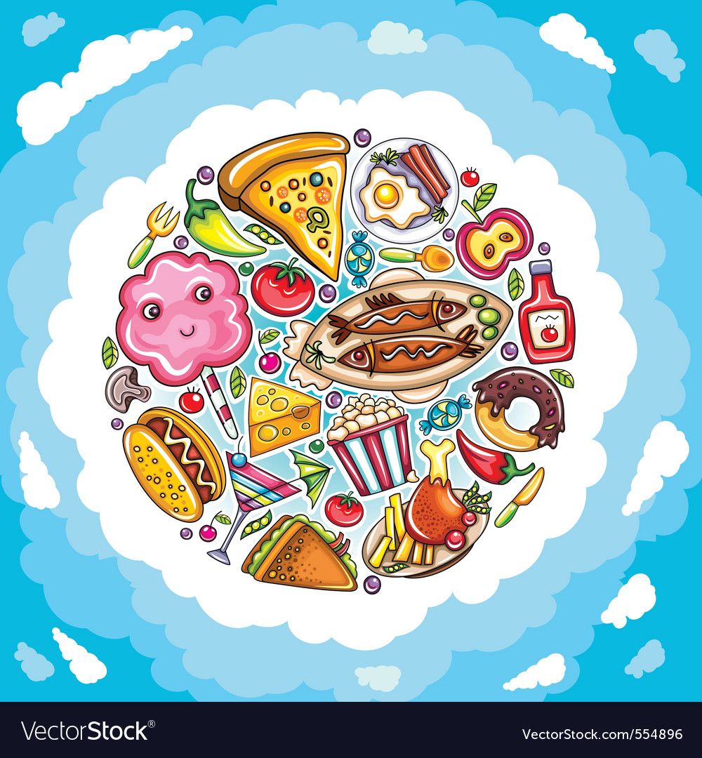 Planet of delicious and funny food vector