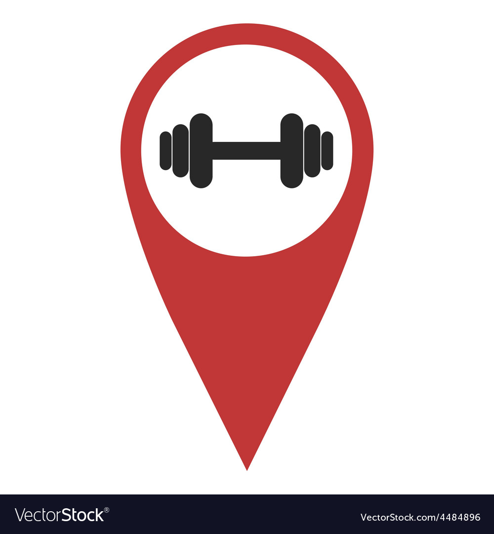 Red geo pin with dumbbell vector