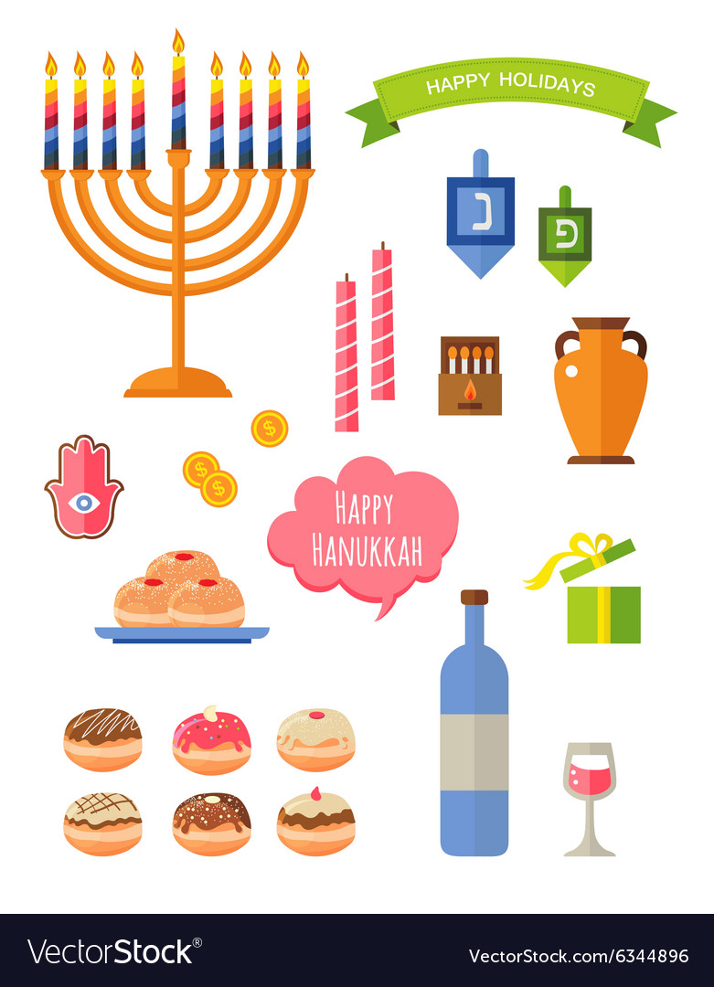 Symbols of hanukkah celebration icons set vector