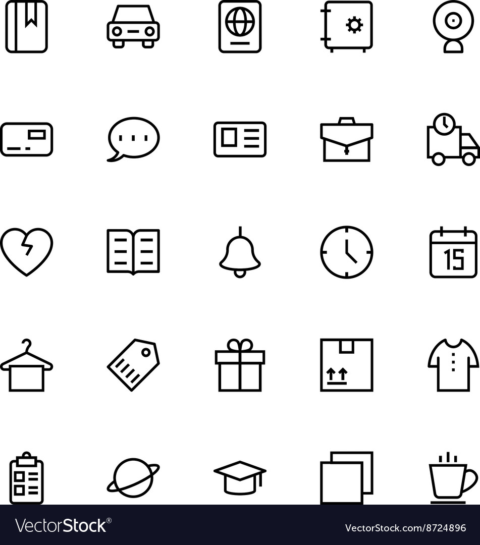 User interface colored line icons 17 vector