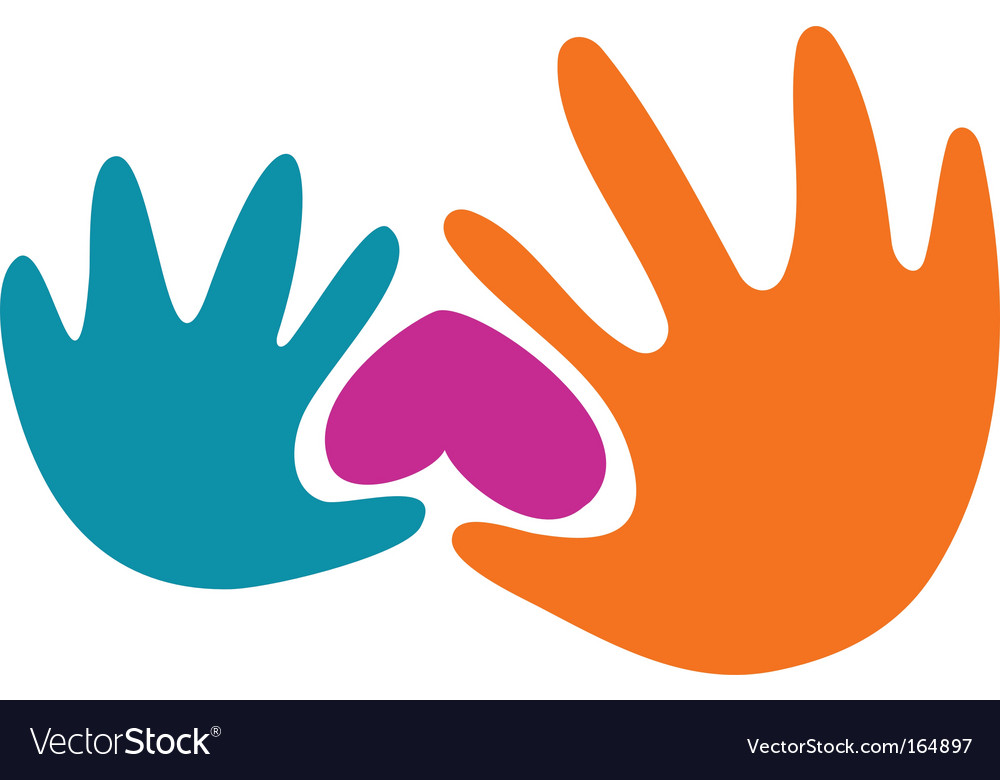 Abstract hands and heart logo vector