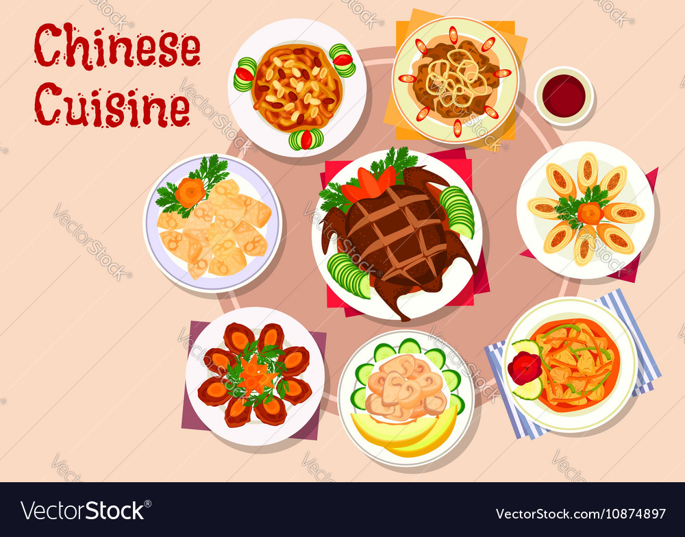 Chinese cuisine meat dishes icon for menu design vector