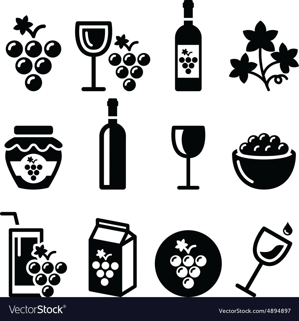 Grapes wine  food and beverages icons set vector