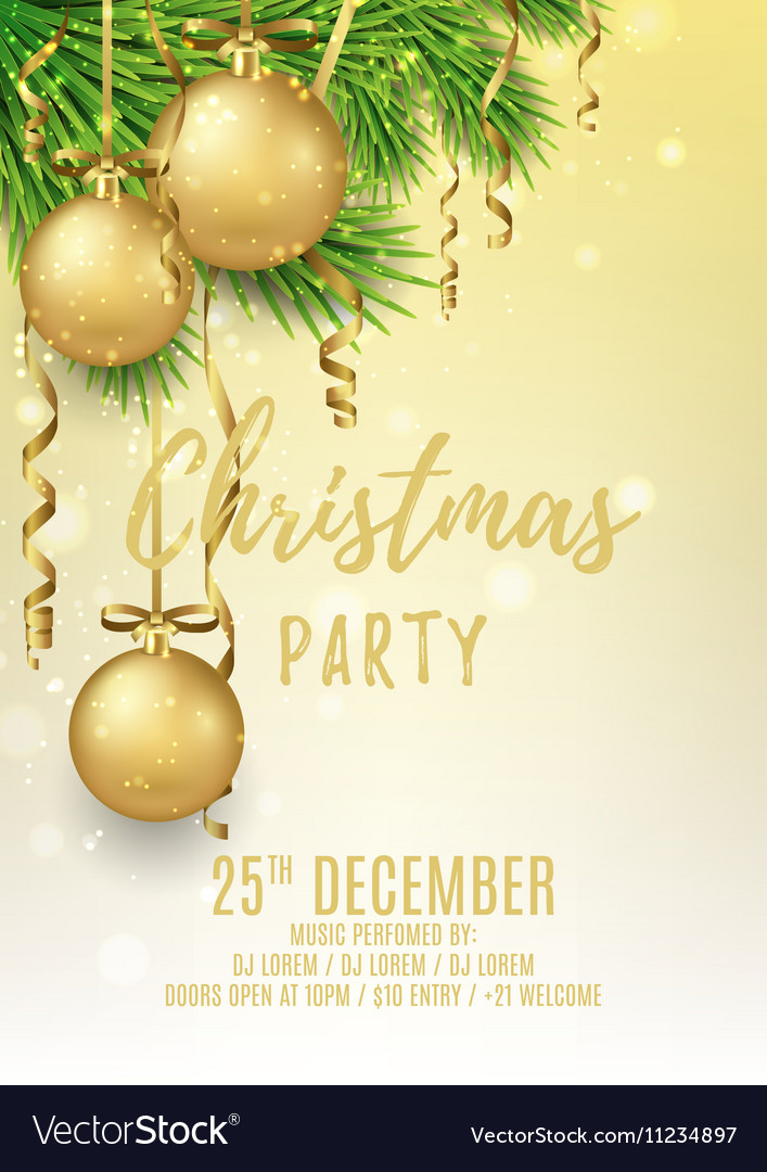 Merry christmas party flyer vector