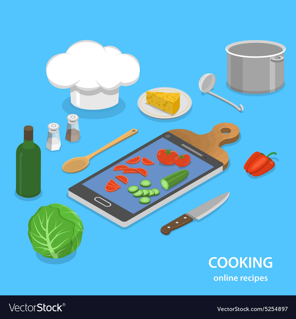 Online recipes flat isometric concept vector