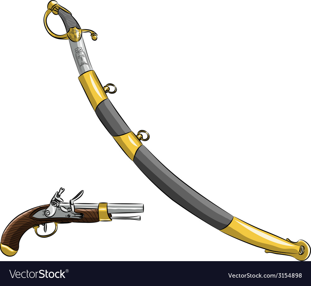 Pistol and saber vector