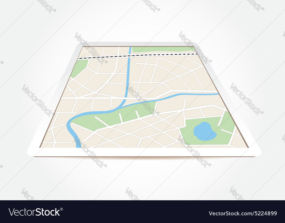 City map on tablet screen vector