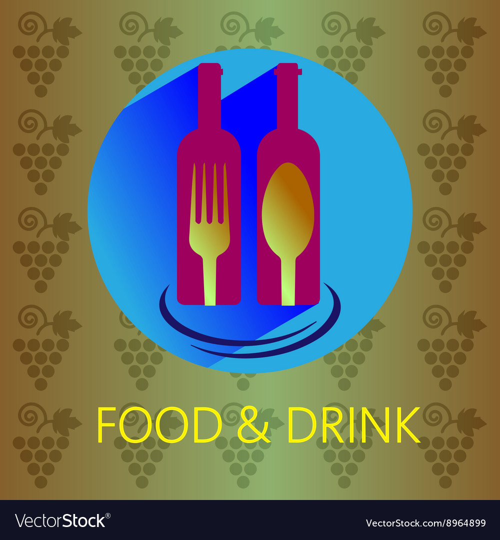 Food and drink with red wine card vector