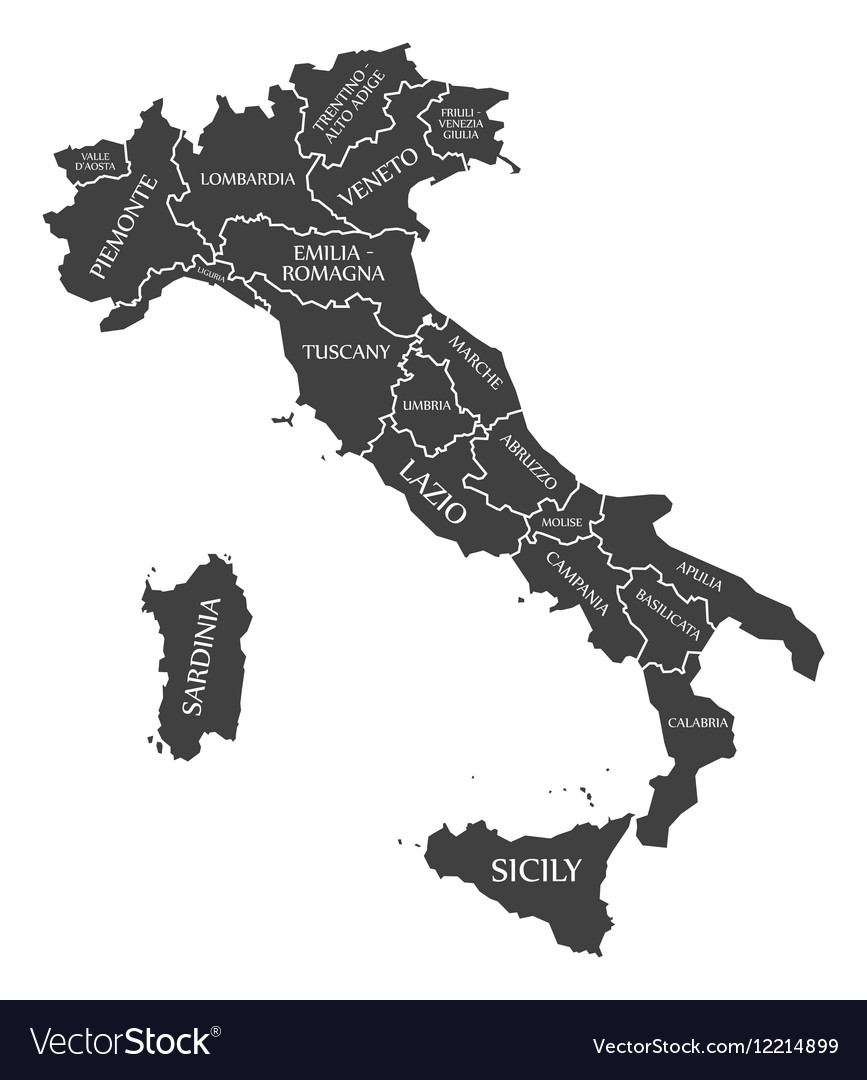 Italy map with labels black vector