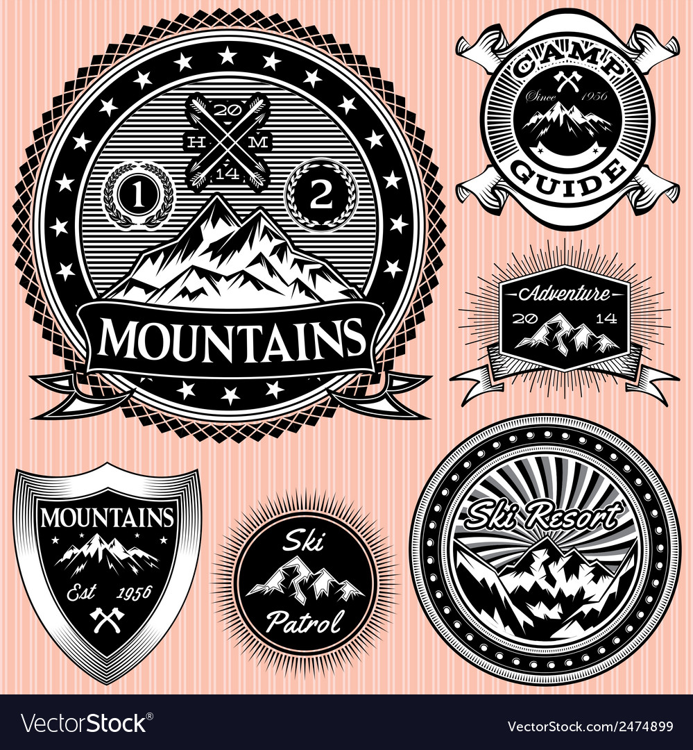 Set of monochromatic emblems with mountain vector